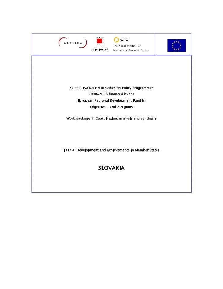 The Vienna Institute for                ISMERI EUROPA   International Economic Studies        Ex Post Evaluation of Cohesi...