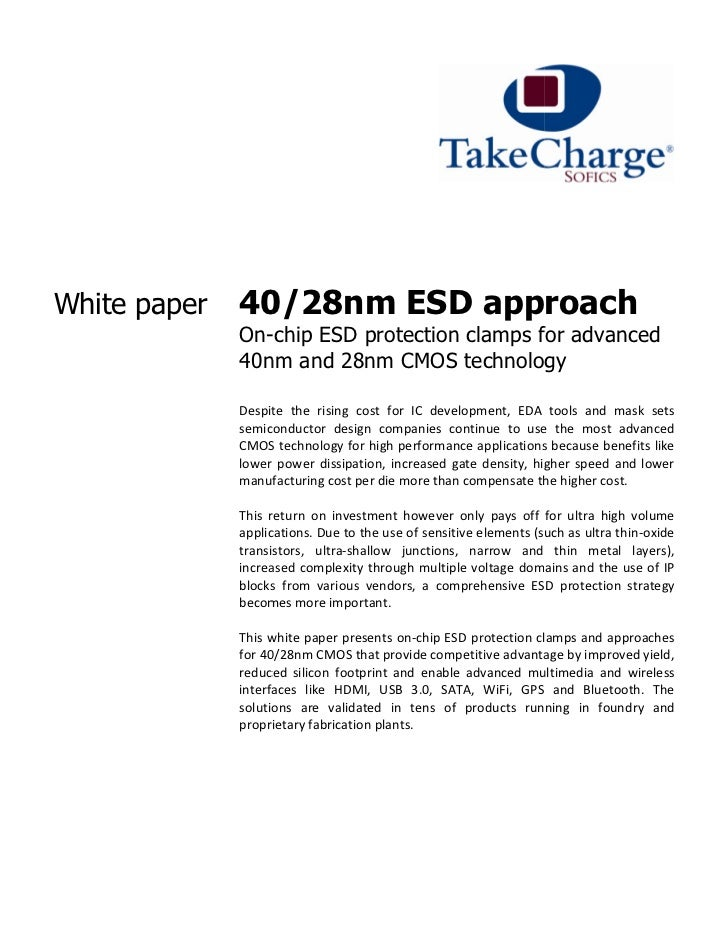 White paper   40/28nm ESD approach              On-                -chip ESD protection clamps for advanced              4...