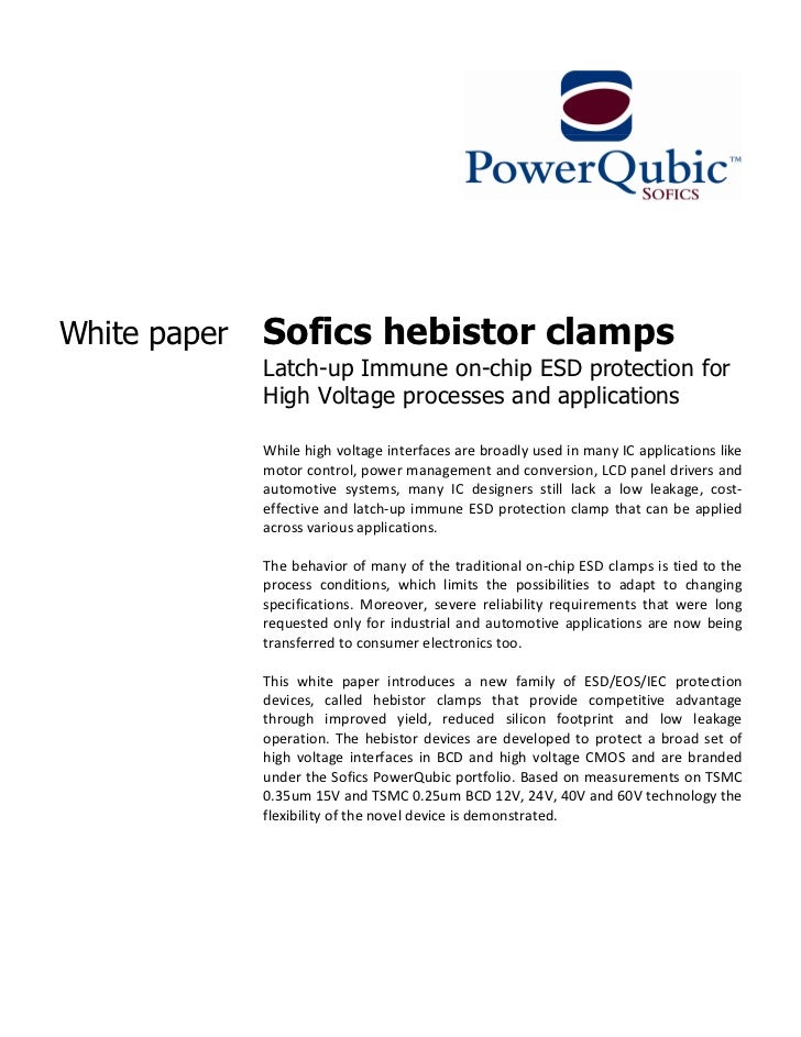 White paper   Sofics hebistor clamps              Latch-up Immune on-chip ESD protection for              High Voltage pro...