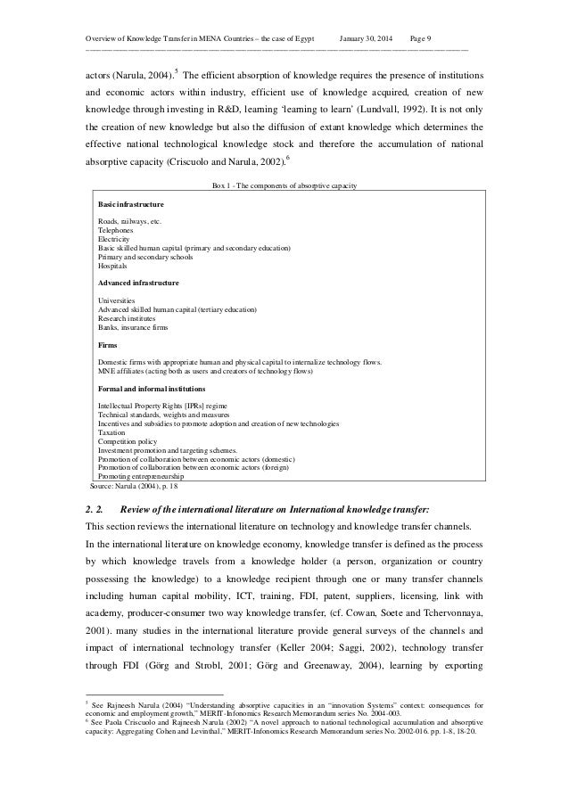 Overview of Knowledge Transfer in MENA Countries – the case of Egypt January 30, 2014 Page 9 _____________________________...
