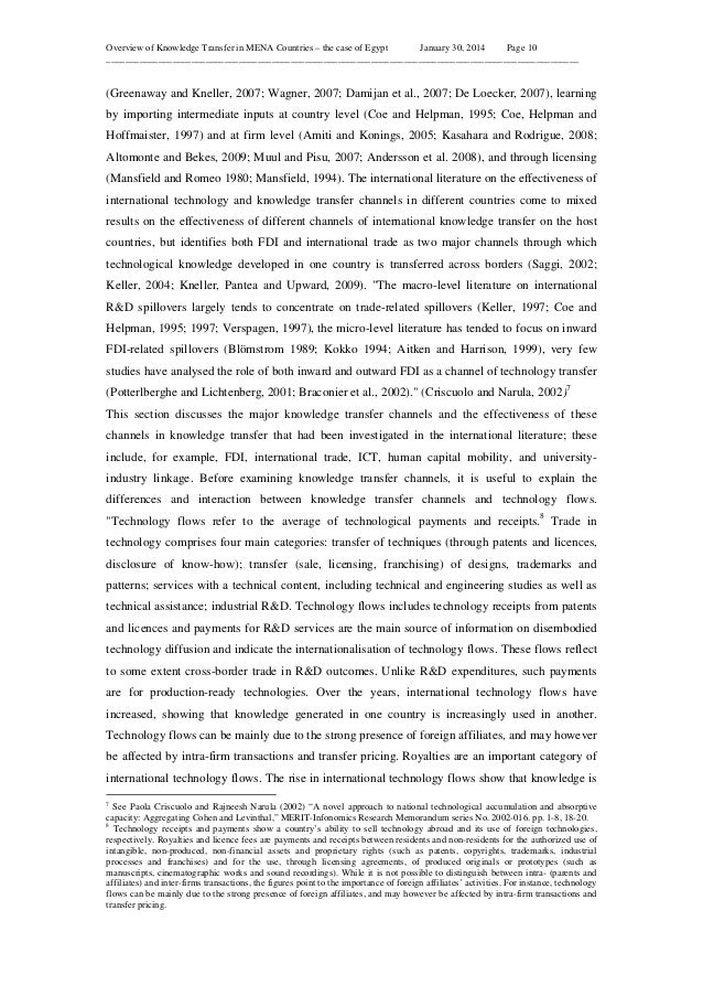 Overview of Knowledge Transfer in MENA Countries – the case of Egypt January 30, 2014 Page 10 ____________________________...