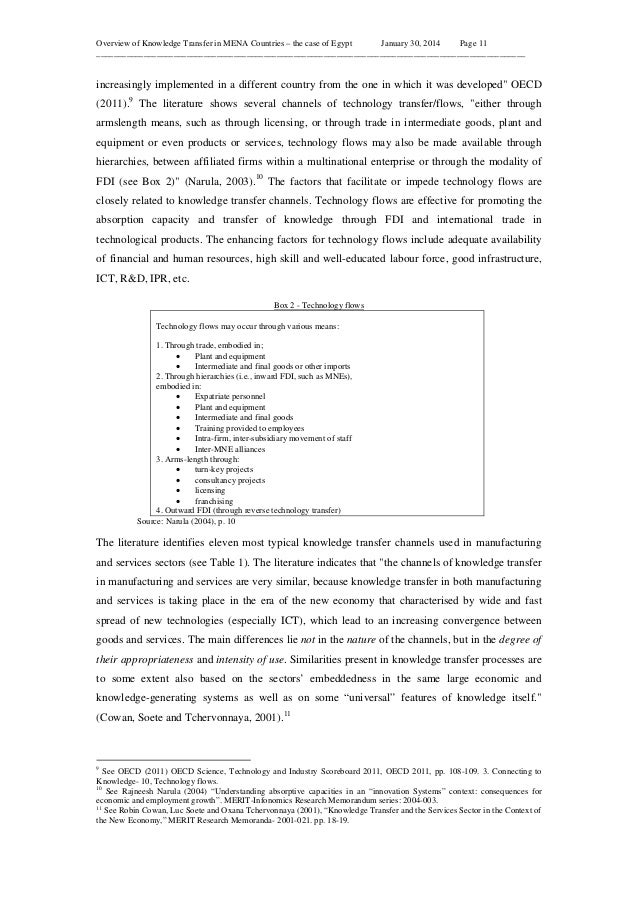 Overview of Knowledge Transfer in MENA Countries – the case of Egypt January 30, 2014 Page 11 ____________________________...