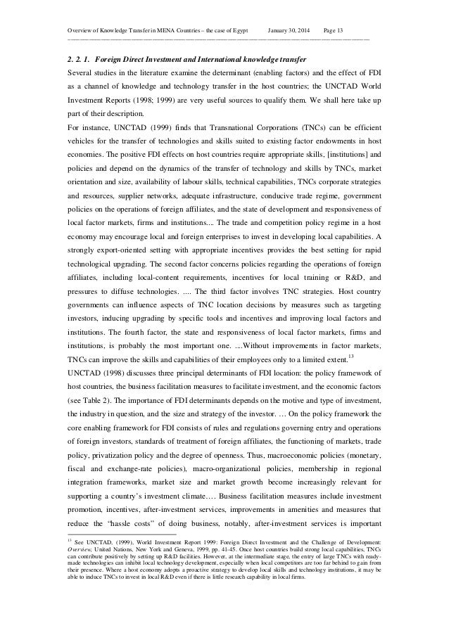 Overview of Knowledge Transfer in MENA Countries – the case of Egypt January 30, 2014 Page 13 ____________________________...