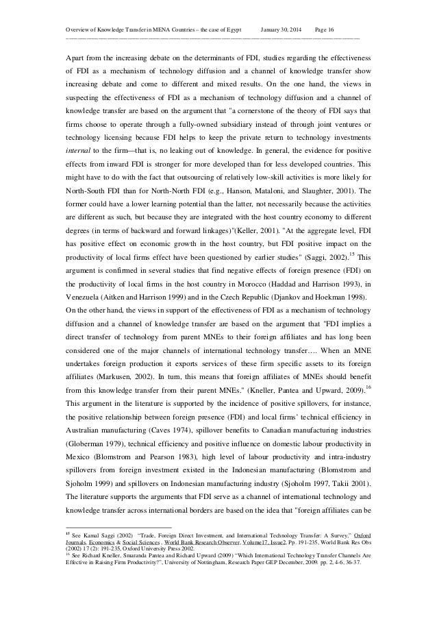 Overview of Knowledge Transfer in MENA Countries – the case of Egypt January 30, 2014 Page 16 ____________________________...