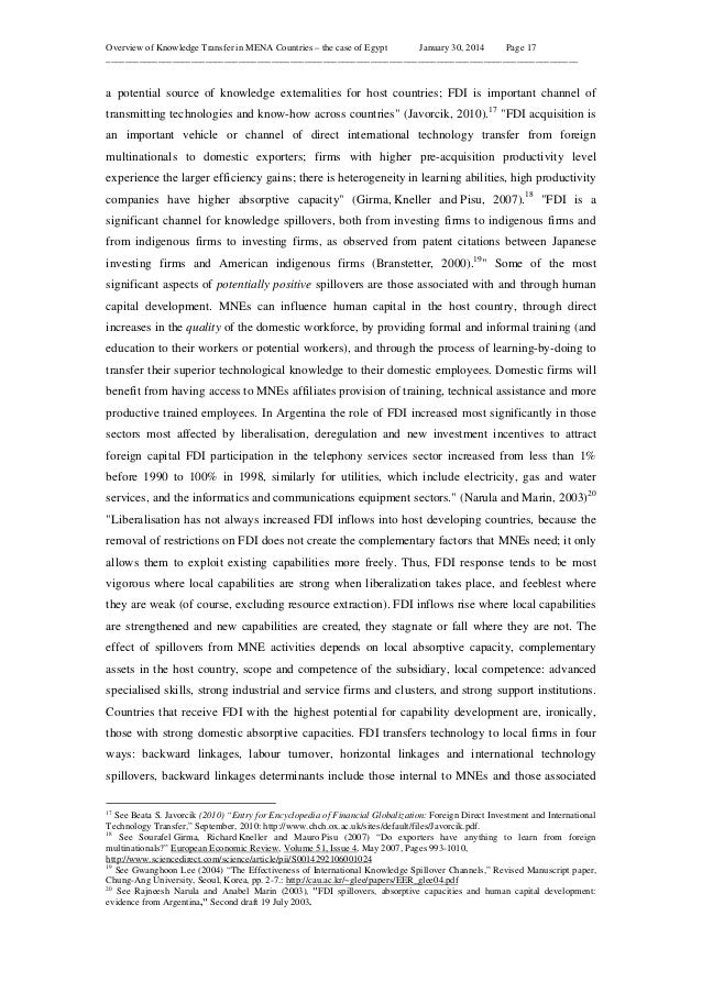 Overview of Knowledge Transfer in MENA Countries – the case of Egypt January 30, 2014 Page 17 ____________________________...