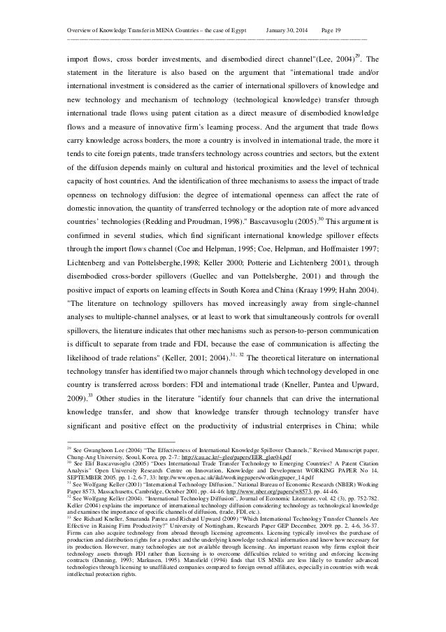 Overview of Knowledge Transfer in MENA Countries – the case of Egypt January 30, 2014 Page 19 ____________________________...