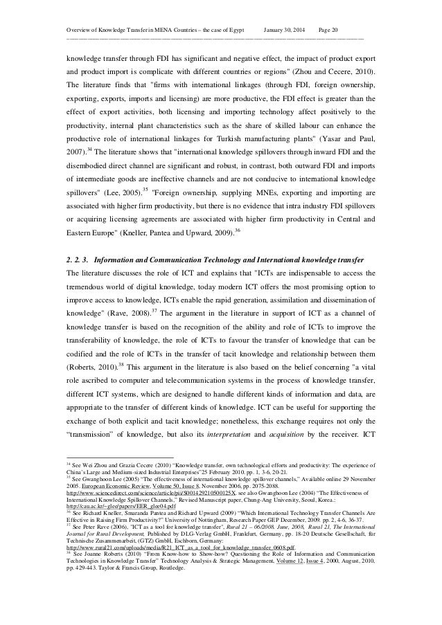 Overview of Knowledge Transfer in MENA Countries – the case of Egypt January 30, 2014 Page 20 ____________________________...