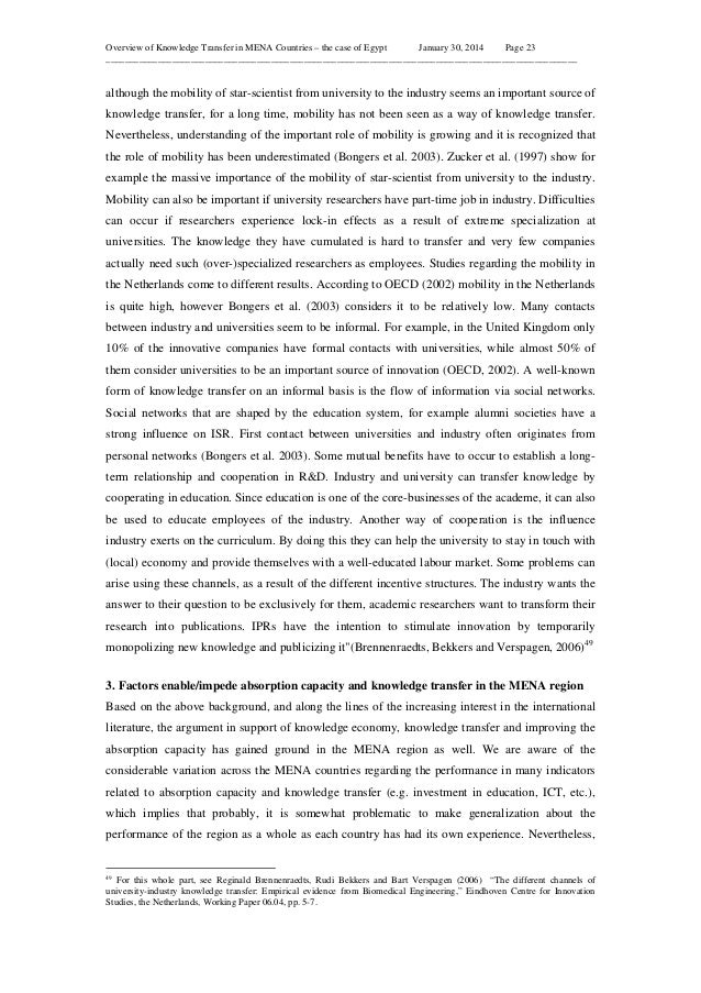 Overview of Knowledge Transfer in MENA Countries – the case of Egypt January 30, 2014 Page 23 ____________________________...