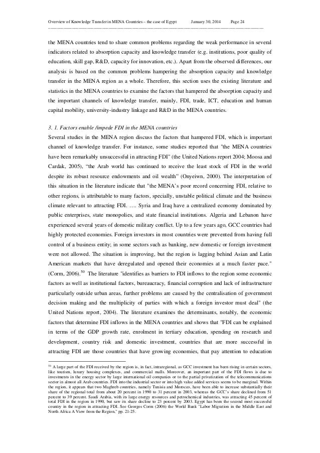 Overview of Knowledge Transfer in MENA Countries – the case of Egypt January 30, 2014 Page 24 ____________________________...
