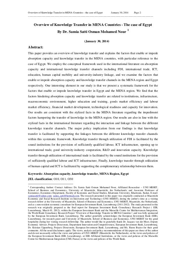 Overview of Knowledge Transfer in MENA Countries – the case of Egypt January 30, 2014 Page 2 _____________________________...