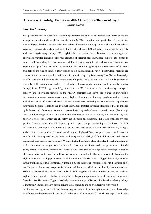 Overview of Knowledge Transfer in MENA Countries – the case of Egypt January 30, 2014 Page 3 _____________________________...