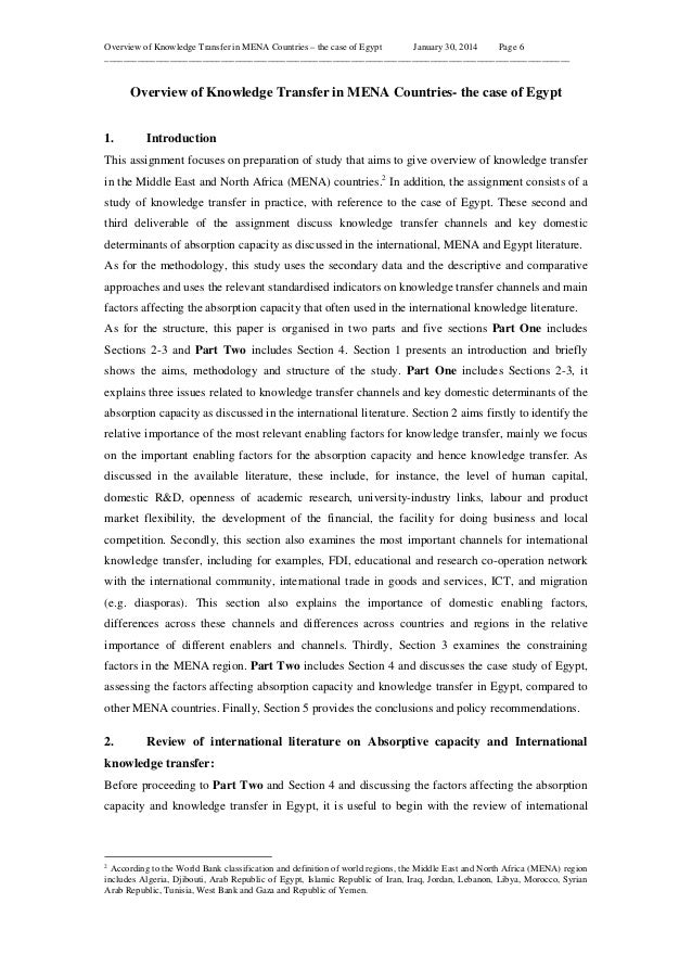 Overview of Knowledge Transfer in MENA Countries – the case of Egypt January 30, 2014 Page 6 _____________________________...
