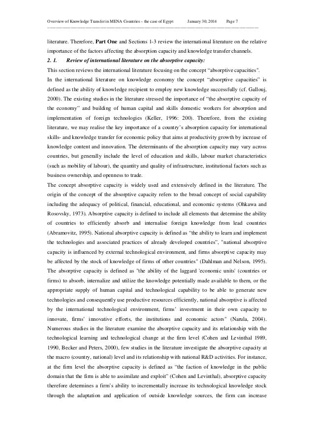 Overview of Knowledge Transfer in MENA Countries – the case of Egypt January 30, 2014 Page 7 _____________________________...