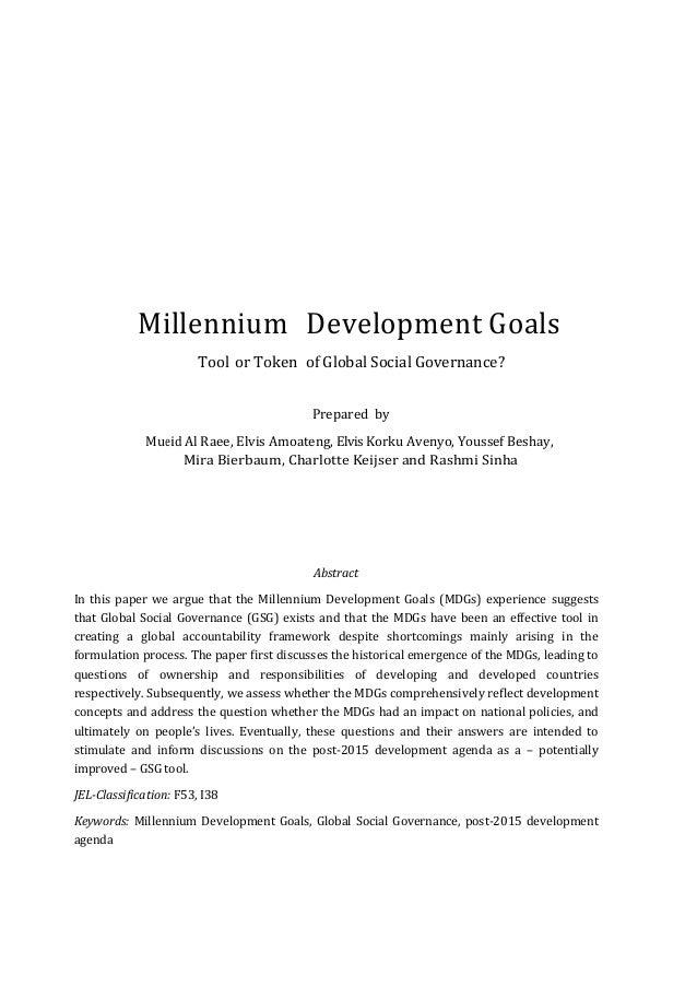 Essay on The Millennium Development Goals