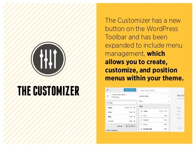The Customizer has a new button on the WordPress Toolbar and has been expanded to include menu management, which allows yo...
