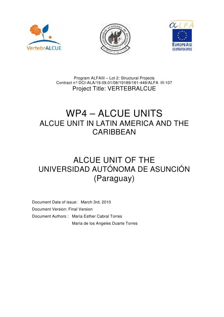 1. 1. ANTEC                            Program ALFAIII – Lot 2: Structural Projects               Contract n° DCI-ALA/19.0...