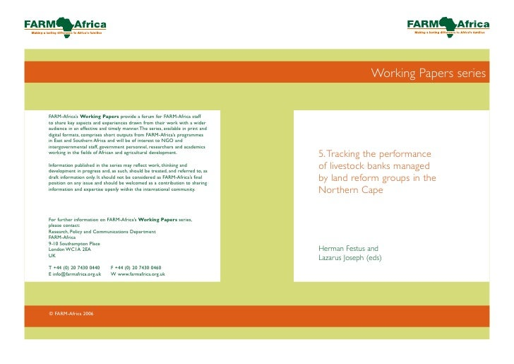 Working Papers series     5. Tracking the performance of livestock banks managed by land reform groups in the Northern Cap...