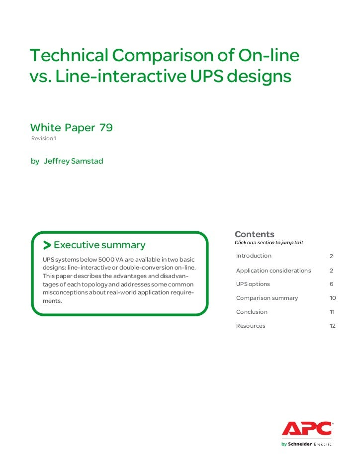 Technical Comparison of On-linevs. Line-interactive UPS designsWhite Paper 79Revision 1by Jeffrey Samstad                 ...