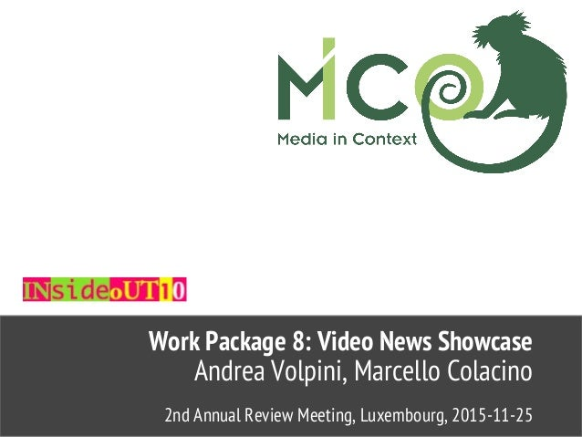 2nd Annual Review Meeting, Luxembourg, 2015-11-25 Andrea Volpini, Marcello Colacino Work Package 8: Video News Showcase