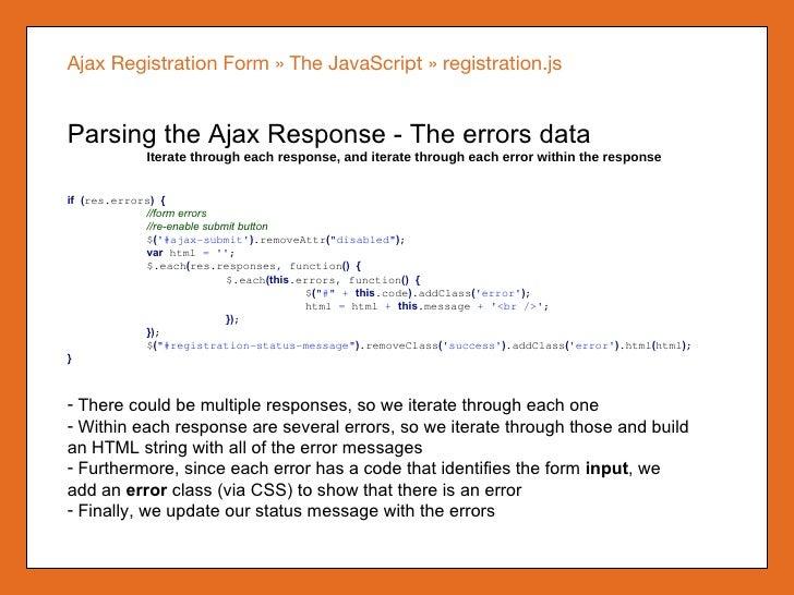 registration form coding in javascript