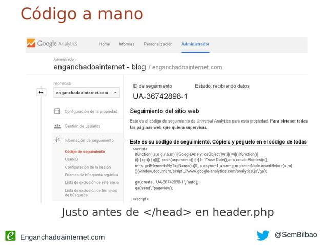 """Enganchadoainternet.com @SemBilbao Mejor con Tag Manager Pocos post por categoría: """"no index"""""""
