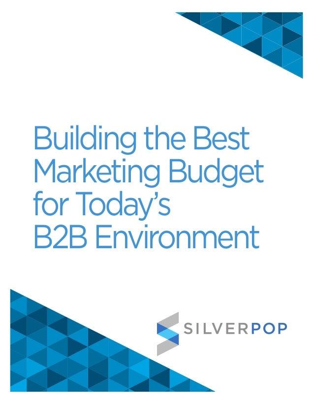 Building the BestMarketing Budgetfor Today'sB2B Environment