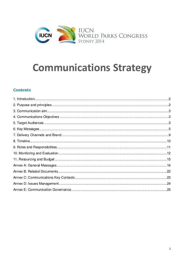 1 Communications Strategy Contents 1. Introduction...........................................................................