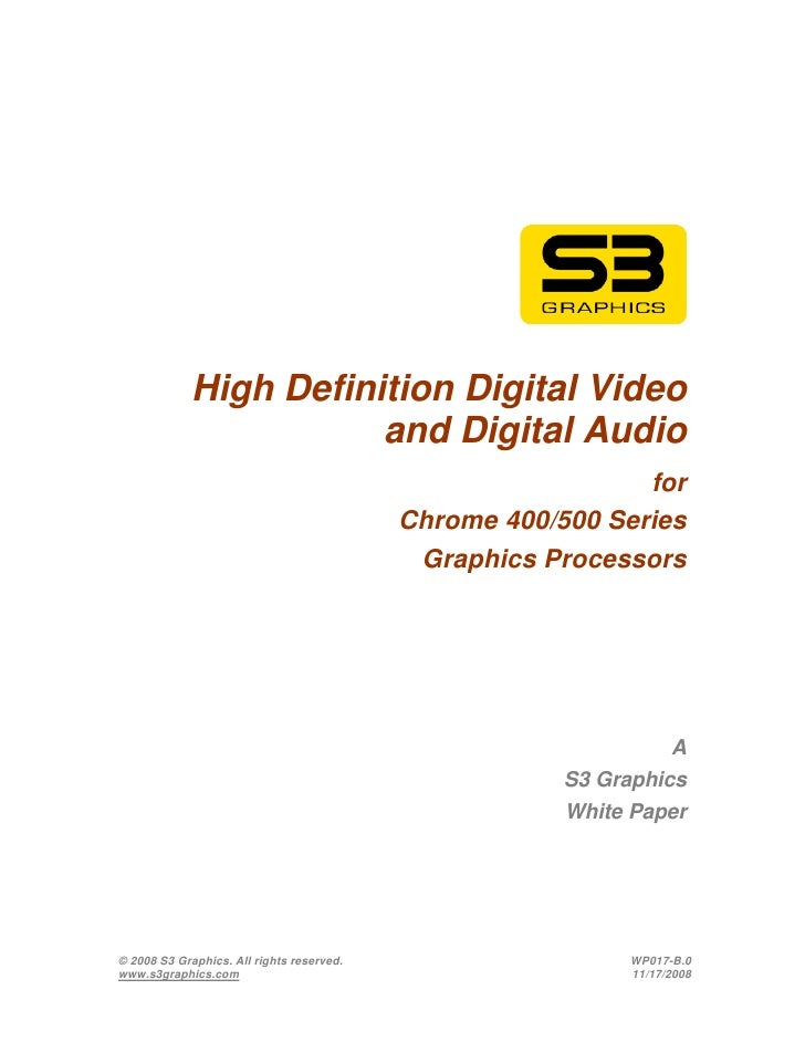 High Definition Digital Video                        and Digital Audio                                                    ...