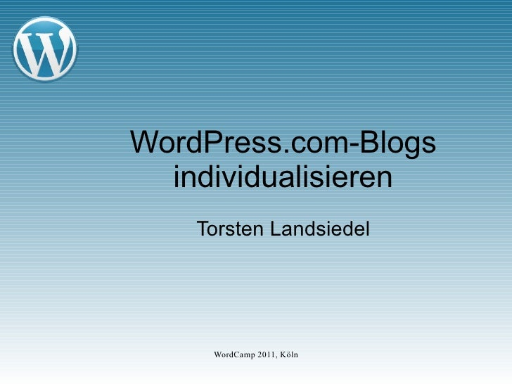 WordPress.com-Blogs individualisieren Torsten Landsiedel