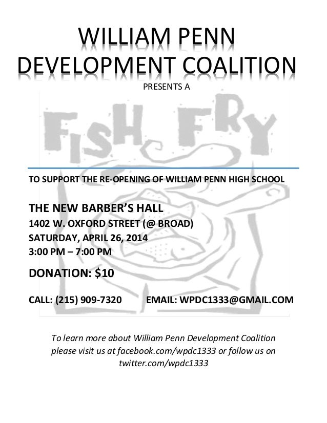To learn more about William Penn Development Coalition please visit us at facebook.com/wpdc1333 or follow us on twitter.co...