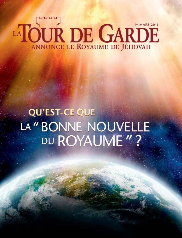 """34567          1er MARS 2011  QU'EST-CE QUELA """"BONNE NOUVELLE     ROYAUME """" ?    DU"""