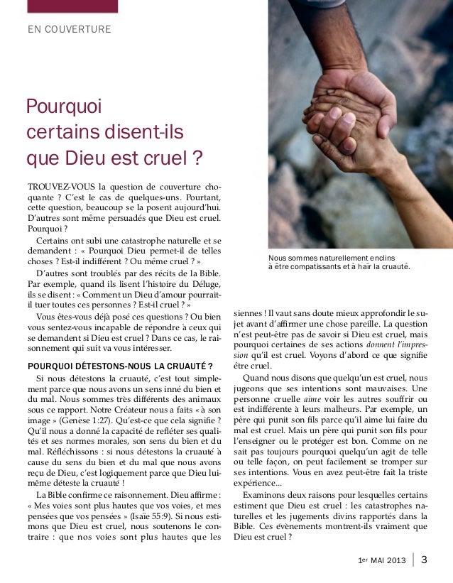 EN COUVERTUREPourquoicertains disent-ilsque Dieu est cruel ?TROUVEZ-VOUS la question de couverture cho-quante ? C'est le c...