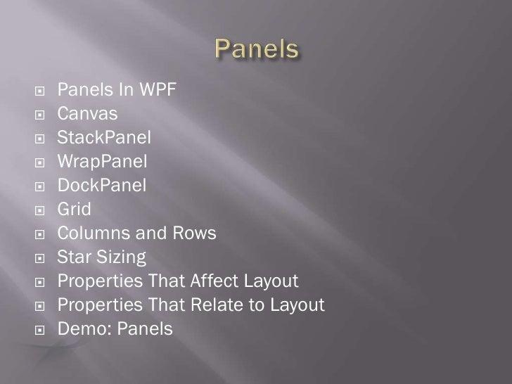 WPF Line of Business Application XAML Layouts Presentation