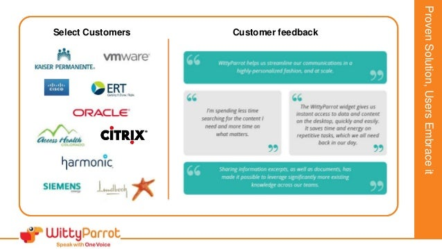 JonathanSmithExecutiveSummary Select Customers Customer feedback ProvenSolution,UsersEmbraceit
