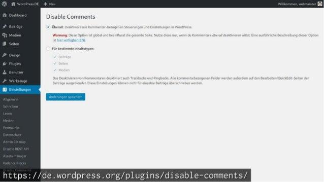 WordPress aufräumen