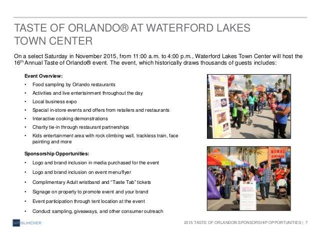 Waterford Lakes Taste Of Orlando Sponsorship Opportunities 2015