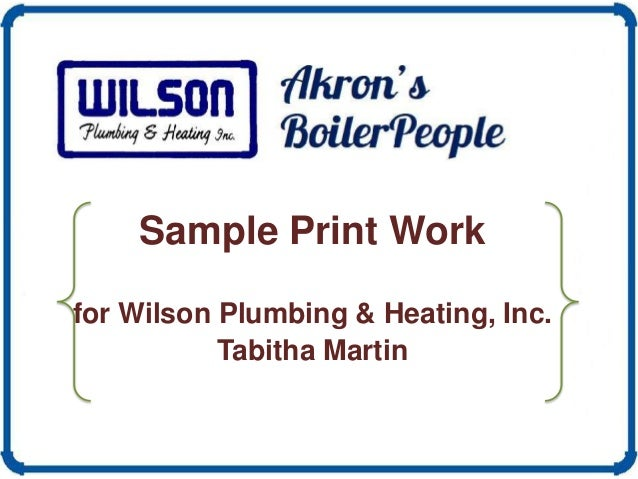 Sample Print Work for Wilson Plumbing & Heating, Inc. Tabitha Martin