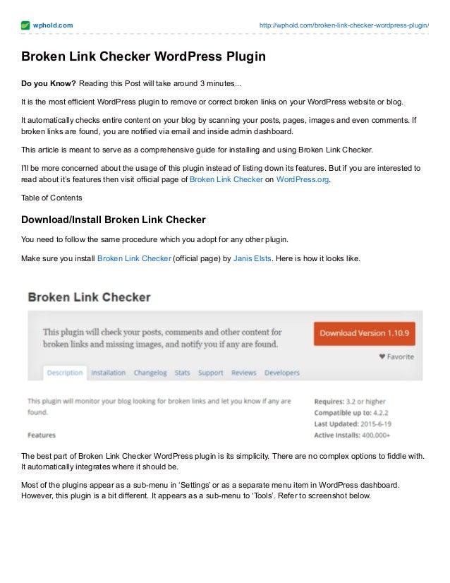 broken links checker wordpress