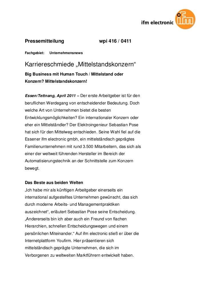 """Pressemitteilung                        wpi 416 / 0411Fachgebiet:   UnternehmensnewsKarriereschmiede """"Mittelstandskonzern""""..."""