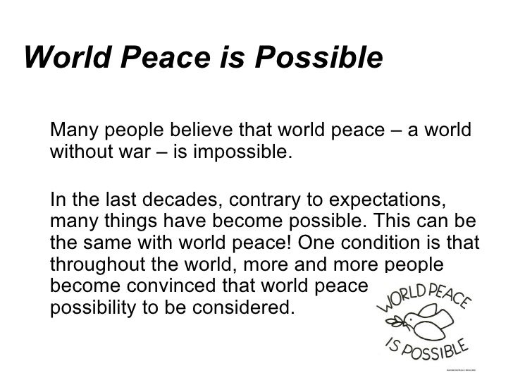 world peace is impossible