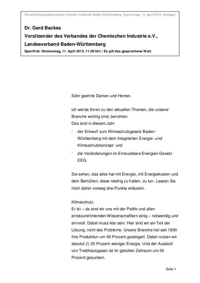 Wirtschaftspressekonferenz Chemie-Verbände Baden-Württemberg, Donnerstag, 11. April 2013, StuttgartWirtschaftspressekonfer...