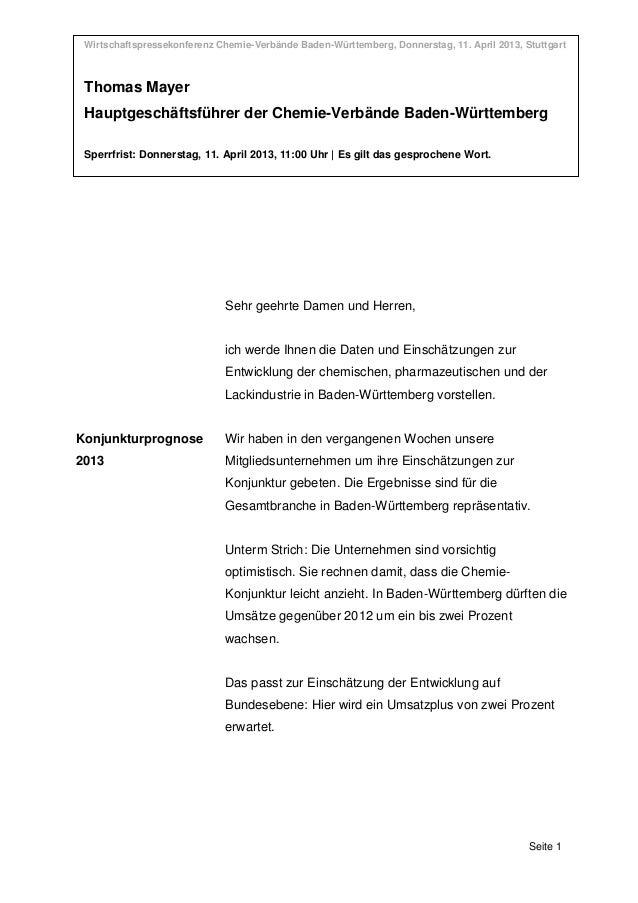 Wirtschaftspressekonferenz Chemie-Verbände Baden-Württemberg, Donnerstag, 11. April 2013, Stuttgart Wirtschaftspressekonfe...