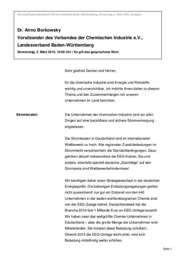 Wirtschaftspressekonferenz Chemie-Verbände Baden-Württemberg, Donnerstag, 5. März 2015, Stuttgart Dr. Anno Borkowsky,, Vor...