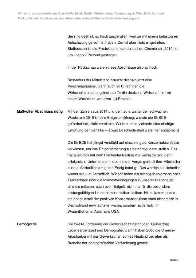 Wirtschaftspressekonferenz Chemie-Verbände Baden-Württemberg, Donnerstag, 5. März 2015, Stuttgart Markus Scheib, Vorsitzen...