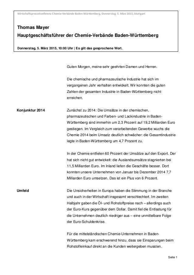Wirtschaftspressekonferenz Chemie-Verbände Baden-Württemberg, Donnerstag, 5. März 2015, Thomas Mayer, Hauptgeschäftsführer...