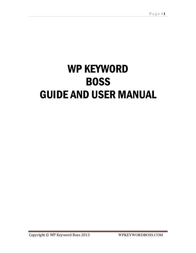 Wp keyword boss manual