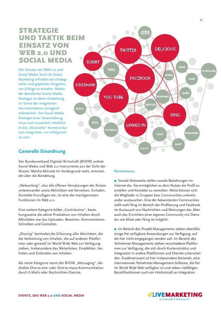 6   STRATEGIE UND TAKTIK BEIM EINSATZ VON WEB 2.0 UND SOCIAL MEDIA Der Einsatz von Web 2.0 und Social Media Tools im Event...