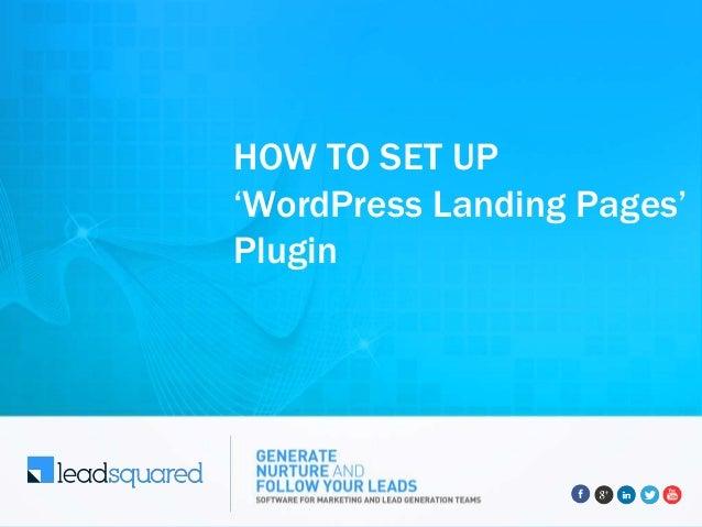HOW TO SET UP 'WordPress Landing Pages' Plugin