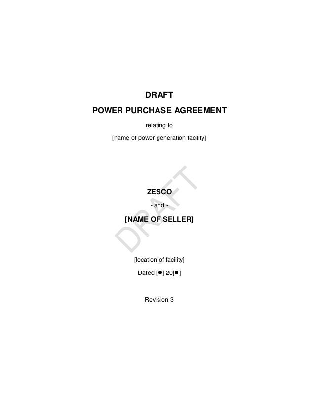 Zambia Draft Renewable Energy Feed In Tarriff Power Purchase Agreement