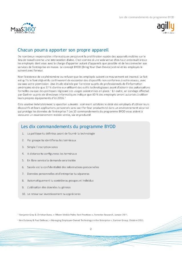 3 Les dix commandements du programme BYOD appareils mobiles (MDM, Mobile Device Management) pour les appareils appartenant...